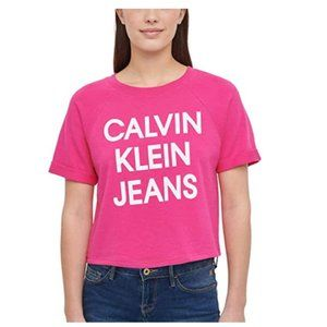 Calvin Klein Jeans Womens French Terry Logo Crop T
